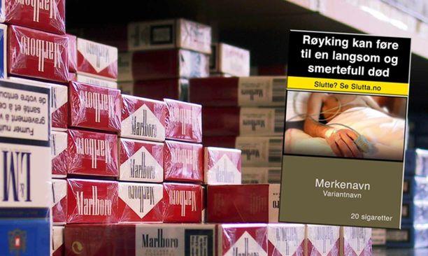 Norjassa tupakka myydään brändittömissä askeissa.