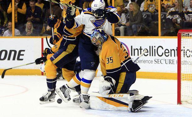 Pekka Rinne pysäytti St. Louisin jo kolmannen kerran.