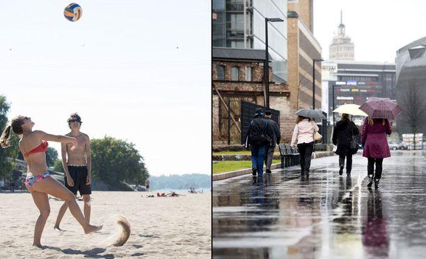 Lähiaikoina on sateista, mutta loppukuusta on mahdollisuus myös helteiseen säähän.