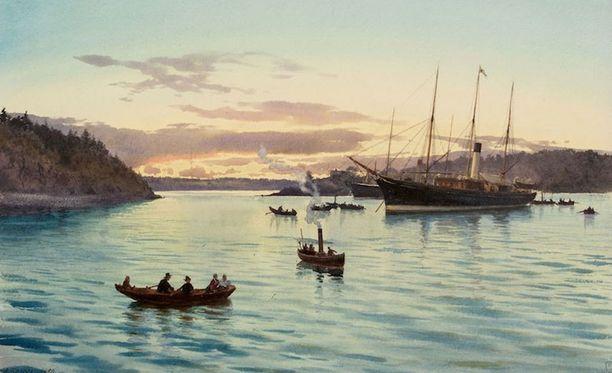 Albert Benois maalaama akvarelli keisarillisesta huvijahdista Suomen saaristossa.