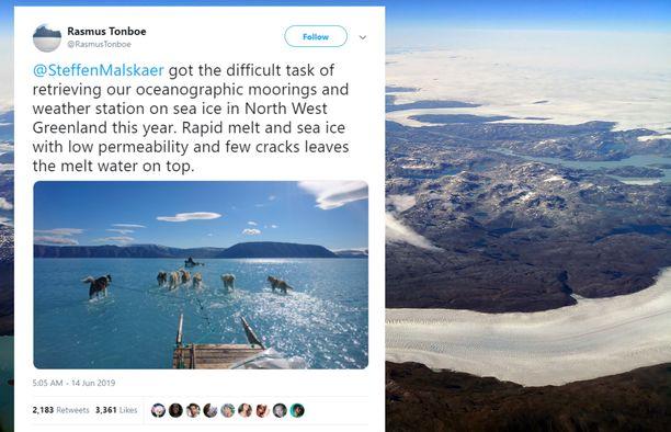 Grönlannin merijää ei ole vielä koskaan aiemmin ollut kesäkuussa näin sulanut.