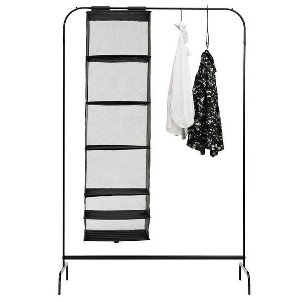 Trendikäs rekki on nuoren kodinlaittajan mieleen. Mulig-vaateteline (99x46cm) terästä, 7,99 e, Ikea.