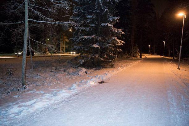 Tesoman valtatien viereinen kävelytie, josta perheenisä Petri Salonen löytyi surmattuna.