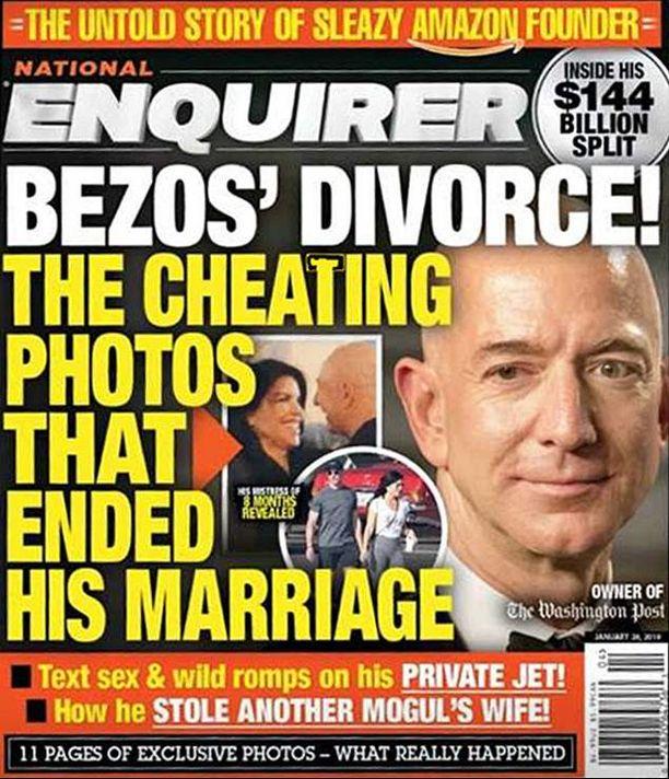 """National Enquirer -lehden oli tarkoitus """"skuupata"""" Jeff Bezosin salasuhde torstaina, mutta Bezokset kerkisivät itse ilmoittaa avioerostaan jo keskiviikkona."""