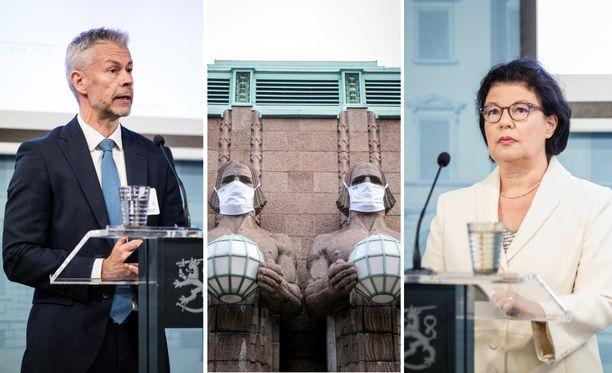 THL:n Taneli Puumalainen ja STM:n Liisa-Maria Voipio-Pulkki vetoavat suomalaisiin, että maskia alettaisiin nyt käyttää.