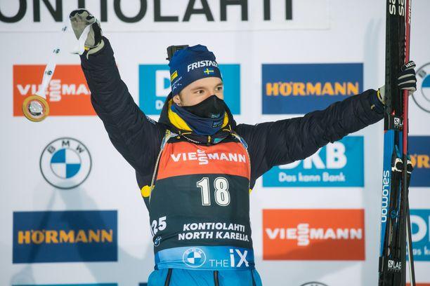 Sebastian Samuelsson voitti lauantaina maailmancupin osakilpailun Kontiolahdella.