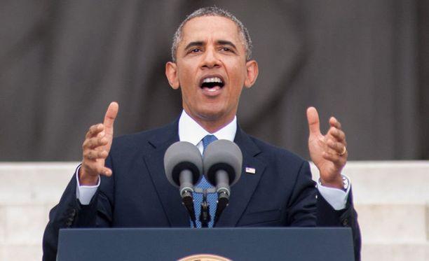 Barack Obama kunnioitti keskiviikkona läsnäolollaan kansalaisoikeustaistelija Martin Luther Kingin puheen 50-vuotispäivää Washingtonissa.