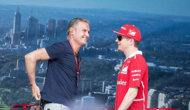 David Coulthard ja Kimi Räikkönen viihtyivät toistensa seurassa Australian GP:ssä vuonna 2017.