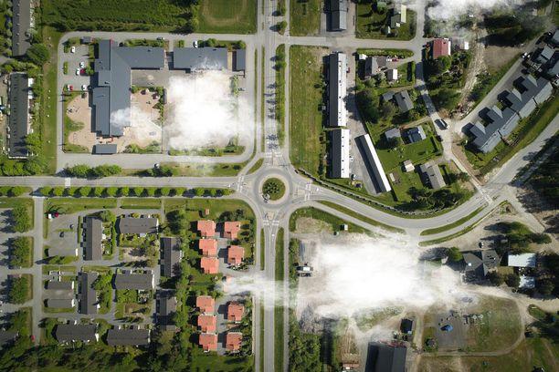 Avaruuden pääkaupunki -kampanjan kuvituksena käytetään ilmakuvia Seinäjoesta.