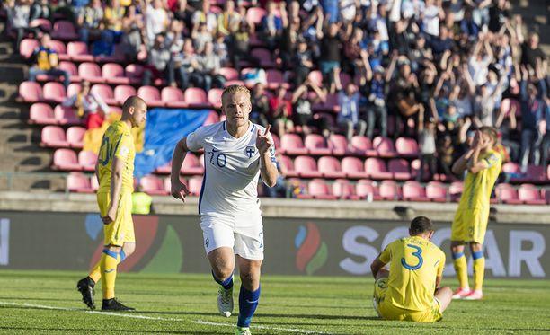 Joel Pohjanpalo iski Suomen tasoituksen. Riemu jäi valitettavan lyhytaikaiseksi.