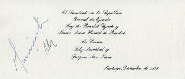 Chilen diktaattori Augusto Pinochetin joulukortti vuodelta 1979.
