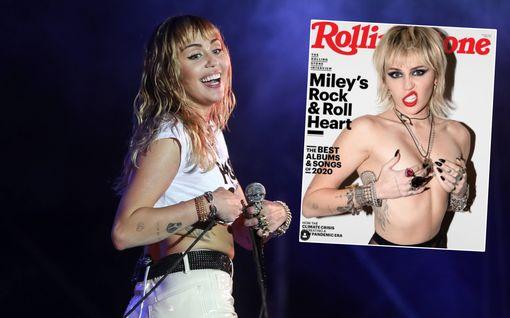 """Miley Cyrus säväyttää yläosattomissa Rolling Stonen kannessa: """"He käskivät peittää joten tein päinvastoin"""""""