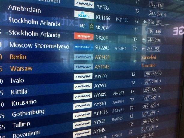 Aamupäivällä lennot lähtivät ja saapuivat normaaliin malliin. Ainoastaan Finnairin lentoja oli peruttu - nekin jo edellisenä päivänä.