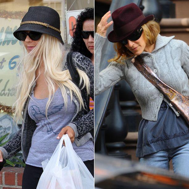 Christina Aguilera ja Sarah Jessica Parker peittävät kasvonsa aurinkolaseilla ja hatulla.