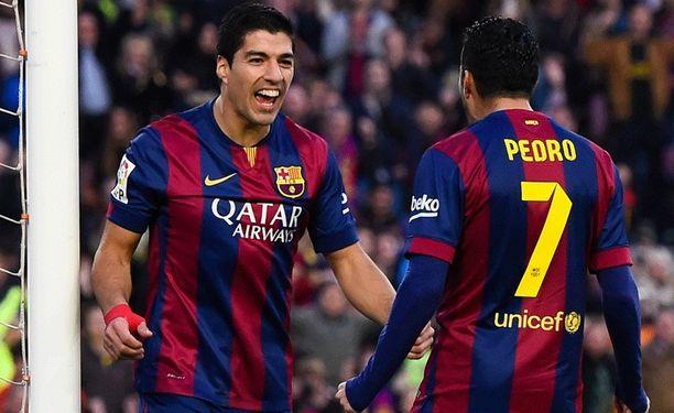 Luis Suárez ja Pedro ovat viimeistelleet Barcelonalle tällä kaudella yhteensä neljä liigamaalia.