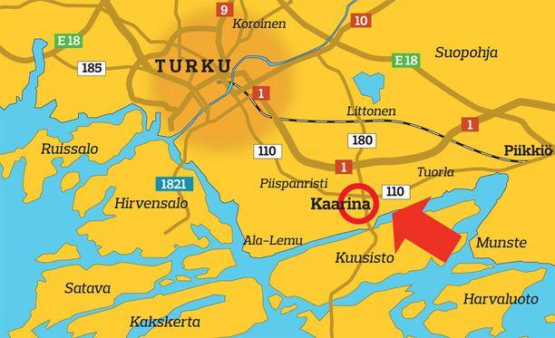 Epäillyt tavoitettiin Kaarinassa torstaina päivällä.