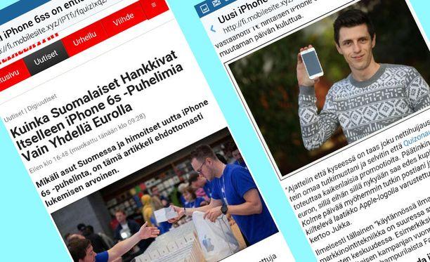 """Valeuutisessa muun muassa haastatellaan puhelimensa jo saanutta """"perthiläistä"""" Jukka Saastamoista."""