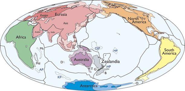 Zealandian sijainti kartalla. Tutkijoiden mukaan uusi manner on erillään Australian mantereesta.