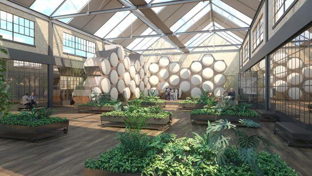 Taiteilijan näkemys siitä, miltä ruumiiden kompostointilaitos voisi näyttää. Yksittäiset kompostit ovat kuin hunajakennoja.
