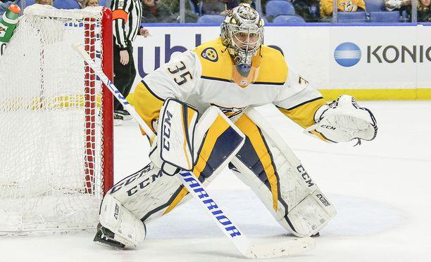 Nashville Predatorsin Pekka Rinne torjui nollapelin ja kauden 40. voittonsa.
