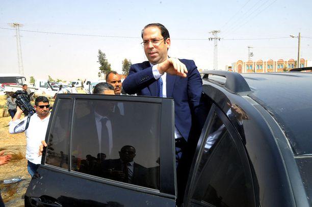 Tunisian pääministeri Youssef Chahed vierailulla Etelä-Tunisiassa.