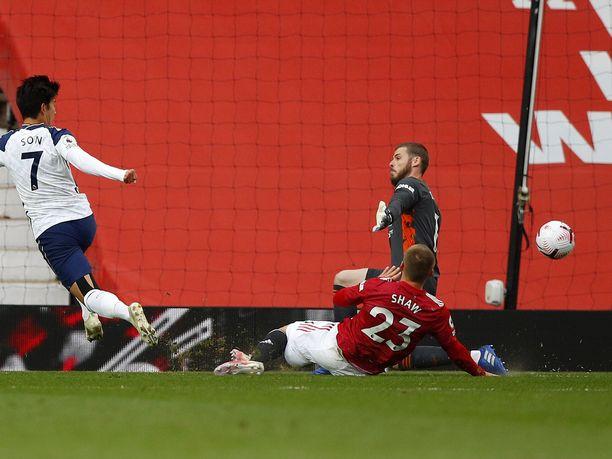 Son Heung-Min vei Tottenhamin 2–1-johtoon seitsemännellä minuutilla.