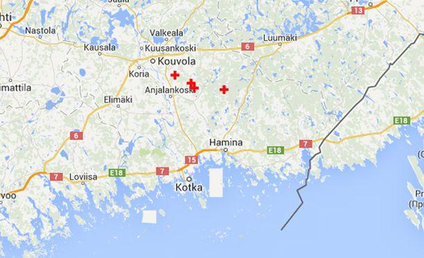 Helsingin yliopiston Seismologian laitoksen seurantakartalla näkyi lauantain kohdalla neljä järistystä Kouvolan ja Kotkan välillä.