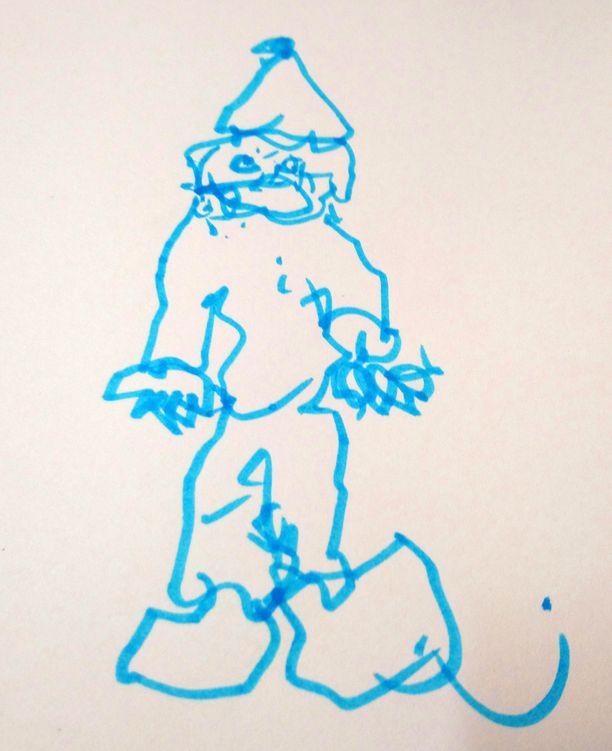 Tässä on tonttu, jonka Harri Husso piirsi oikealla kädellään kolme kuukautta sen jälkeen, kun käsi oli aivoinfartkin vuoksi halvaantunut.