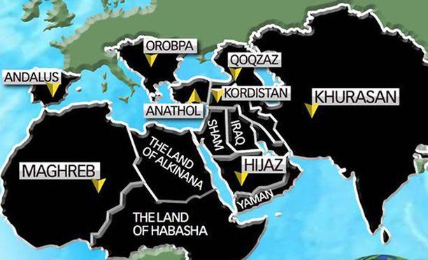 Kartassa on mustalla merkitty ne alueet, joita Isis havittelee.