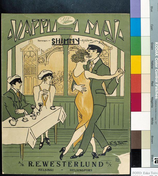 """Kaisaniemen ravintolassa tanssittiin olkapäitä ja lanteita ravistellen shimmyä, jossa laulettiin: """"Jos kaikki Suomen järvet viinaksi muuttuisi..."""""""
