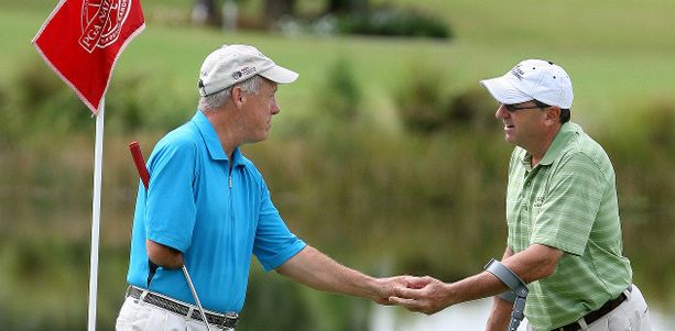Laurent Hurtubise (vas.) onnistui jokaisen golfarin unelmassa.