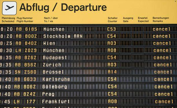 Lakko on aiheuttanut useiden lentojen peruuntumisen.