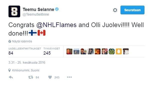 Teemu Selänteelle sattui moka Twitterissä - onnitteli aivan väärää tahoa