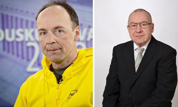 Jussi Halla-aholla (vasemmalla) ja Kalevi Wahrmanilla oli sama vaalinumero, mutta eri vaalipiiri.
