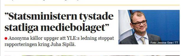 Dagens Nyheter uutisoi keskiviikkoaamuna Juha Sipilästä etusivullaan.