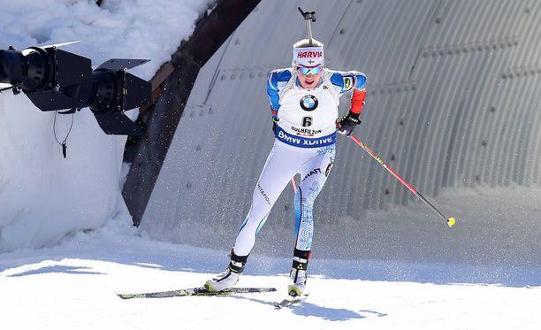 Kaisa Mäkäräinen nousi kahdeksannen kerran palkintokorokkeelle tällä kaudella.