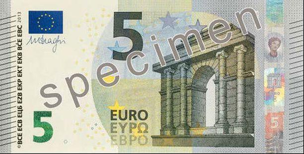 Viiden euron seteli muuttuu.