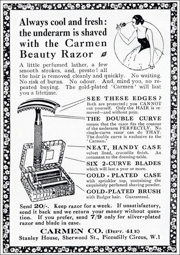 Mainos 1920-luvulta kehuu höylää paketteineen kampauspöydän koristeeksi.