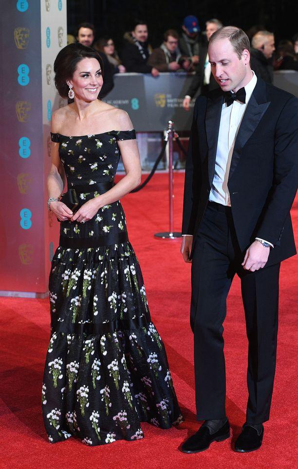 Catherine ja prinssi William BAFTA-gaalassa vuonna 2017.