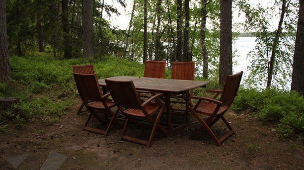 Ennen Ville perheineen ja vieraineen ruokaili maapohjan päällä eikä näkymä järvellekään ollut paras mahdollinen.