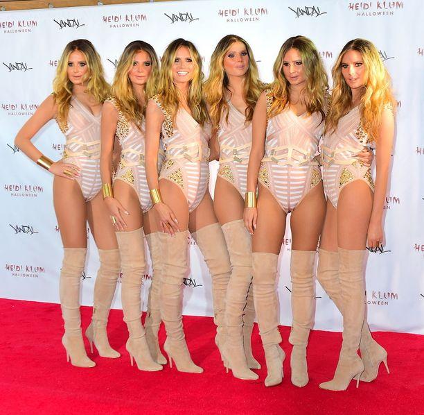 """Vuonna 2016 Heidi kloonasi itsensä, ja saapui juhliin viiden """"Heidi-kloonin"""" kanssa."""
