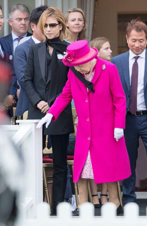 Yoshiko ei ensin huomannut, että hänen huivinsa lennähti kuningattaren päälle.