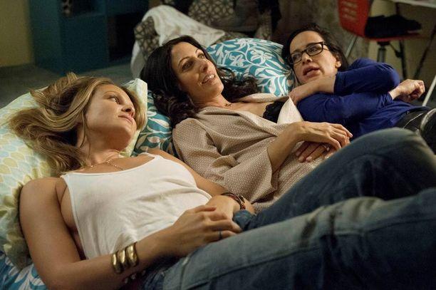 Lisa Edelstein (keskellä) näyttelee itseapuoppaita kirjoittavaa nelikymppistä Abbyä.
