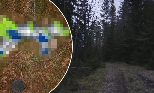 Kissa oli paketoitu muoviin. Kuvassa oikealla näkyvä metsä ei liity tapaukseen.