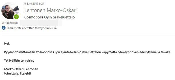 Iltalehti lähetti Päivi Lipposelle 3. lokakuuta sähköpostin, jossa se pyysi Lipposta toimittamaan Cosmopolis Oy:n ajantasaisen osakeluettelon. Lipponen ei koskaan vastannut sähköpostiin.
