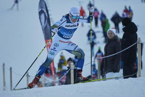 Ruotsin Charlotte Kalla joutui kiipeliin sunnuntaina.