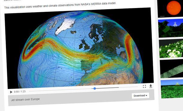 Visualisointi suihkuvirtauksista Euroopassa on katsottavissa Nasan sivuilla. Linkki alla.