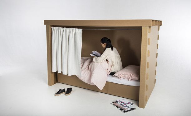 Tämän yksityisen nukkumis- ja oleskelutilan on suunnitellut Topias Kanto.