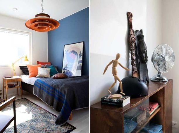 Villa Karhun pintamateriaalit ja värit ovat rakennuttajien valitsemat. Rauhalliset sävyt toimivat hyvänä pohjana väreillä leikittelevälle sisustukselle.