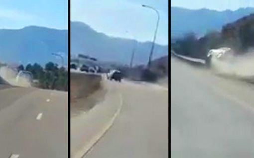 Auto poukkoili kuin pingispallo – amerikkalaiskuljettajan vaaratilanne tallentui videolle